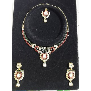 Oxy-Gold Plated Stone Studded Necklace, Earring  Headpiece Imitation Jewellery Set