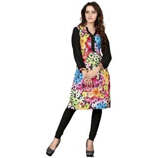 Designer Multicolor Digital Floral Printed Rayon  Crepe Kurtis
