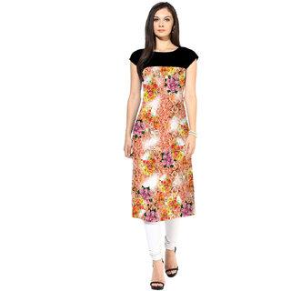 Designer Multicolor Floral Printed Crepe Kurtis