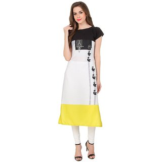 White & Yellow Bird Digitally Printed Kurtis