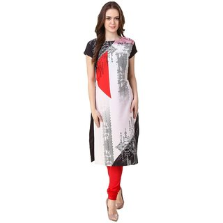 Off White ,Pink & Black Digitally Printed Kurtis