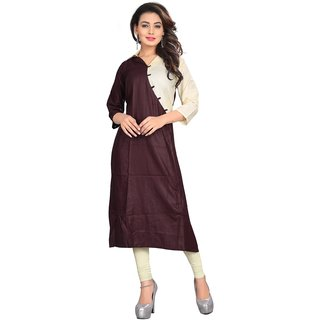Brown & White Color Embellished Satin kurtis