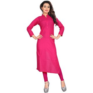 Pink Color Stylish Fancy  Cambric Cotton Kurti