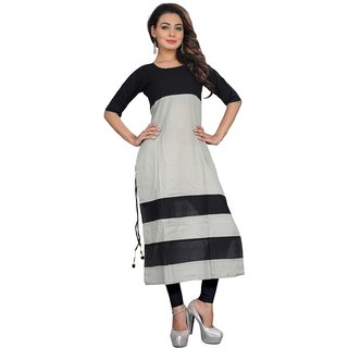 Black  Grey Color Fancy Cambric Cotton Kurti