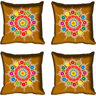 meSleep Beautiful Rangoli Design Digital Printed Cushion Cover 18x18 - 18CD-82-109-04
