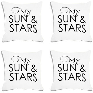 meSleep My Sun  Stars White Digital Printed Cushion Cover (18x18) - 18CD-93-003-S4