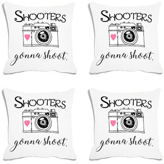 meSleep White Quotes Digital Printed Cushion Cover (18x18) - 18CD-93-009-S4