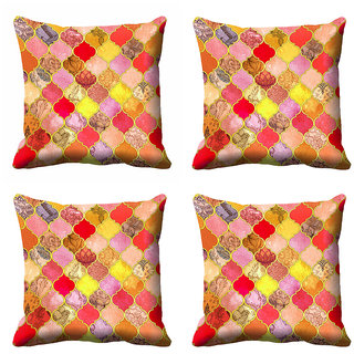 meSleep Abstract Multi Colour  Cushion Cover (18x18) - 18CD-92-195-S4