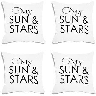 meSleep My Sun & Stars White Digital Printed Cushion Cover (18x18) - 18CD-93-003-S4