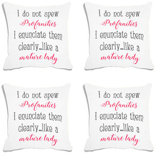 meSleep White Quotes Digital Printed Cushion Cover (18x18) - 18CD-93-015-S4