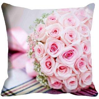 meSleep Rose Bouquet Digitally Printed Cushion Cover (12x12) - 12CD-021-04