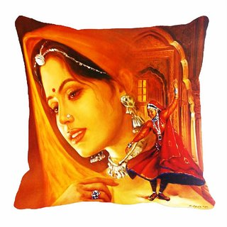 Mesleep Red Girl Digitally Printed Cushion Cover - 12CD-05-00067