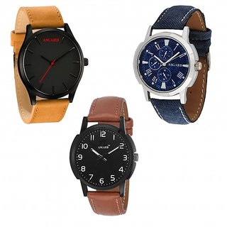 Asgard Analog Multi Colour Dial Watches for Men - Set of 3 TNBBBR