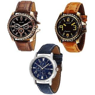 Asgard Multi Colour Dial Watches for Men - Set of 3 CGB
