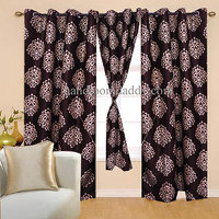 Sweet Home Beautiful Coffee Color Eyelet Door Curtain (set Of 2pieces) Sp12
