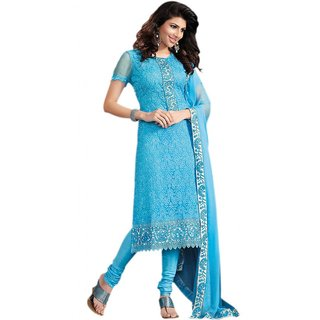 f5248fcbd67 Buy Sky Blue Embroidered Dress Material Online- Shopclues.com