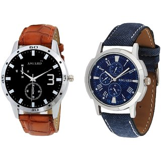 Asgard Casual Analog Black Dial Watches for Men - Set of 2