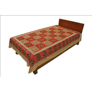 Original Rajasthani Mughal Printed Pattern Single Bed Sheet for Gifting SRB2145