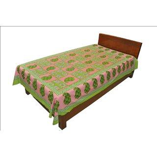 Original Rajasthani Mughal Printed Pattern Single Bed Sheet for Gifting SRB2146