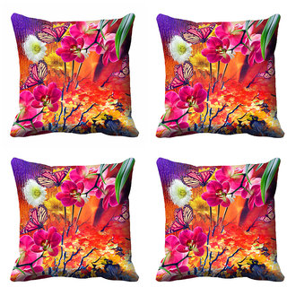 meSleep Multi Colour Floral Cushion Cover (18x18) - 20CD-92-085-S4