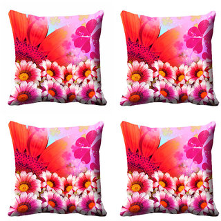 meSleep Pink Floral Cushion Cover (18x18) - 20CD-92-086-S4