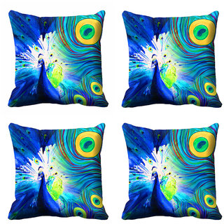 meSleep Abstract Peacock Art Cushion Cover (18x18) - 20CD-92-118-S4