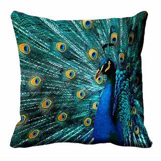 meSleep 3D Blue Peacock Cushion Cover (12x12) - 12CD-92-185