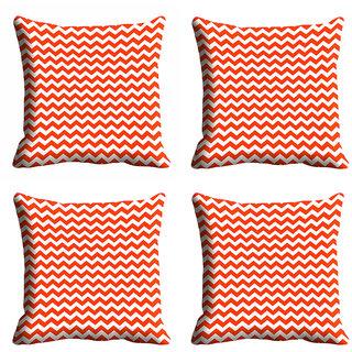 meSleep Orange Checks Cushion Cover (18x18) - 20CD-92-102-S4