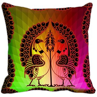 Mesleep Peacock Digitally Printed  18x18 Inch Cushion Cover Ostentatious - 18CD-26-23