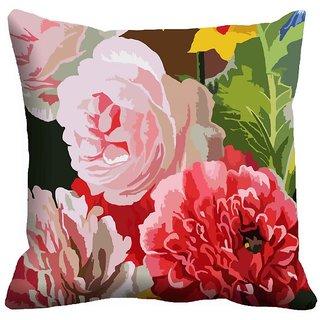 Mesleep Flowers Digitally Printed  12x12 Inch Cushion Cover Jazzy - 12CD-30-17