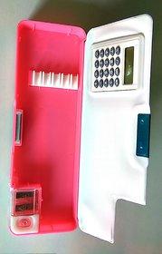 Multicolor Plastic Pencil Box With Calculator