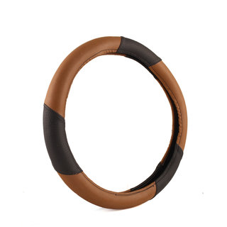 NS Group Anti Slip  Brown And Black Steering Wheel Cover For Chevrolet Enjoy