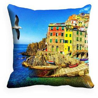 Mesleep Sea Beach Digitally Printed  18x18 Inch Cushion Cover Staggering - 18CD-29-18