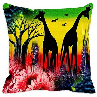 meSleep African Jungle  Art  Digitally Printed Cushion Cover (20x20) - 20CD-34-47