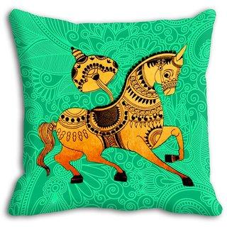 Mesleep Green Horse Digitally Printed Cushion Cover - 20CD-08-019