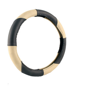NS Group Perfect Grip  Beige And Black Steering Wheel Cover For Mahindra Reva