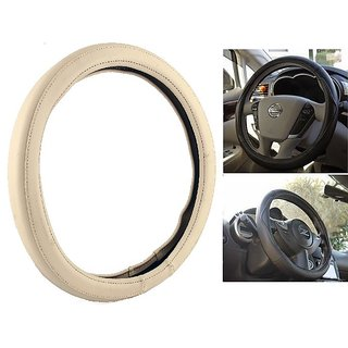 NS Group Perfect Fit  Beige Steering Wheel Cover For Ford Fiesta