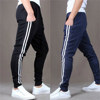 Men's Fashion Casual Skinny Sports Black BlueTrack Pants