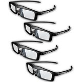 True Depth 3D NEW Firestorm LT Lightweight Rechargeable DLP link 3D Glasses for All 3D Projectors (Benq, Optoma, Acer, Vivitek, Dell Etc) and All DLP HD 3D TVs (Mitsubishi, Samsung Etc) Compatible At 96 Hz, 120 Hz and 144 Hz! (4 Pairs!)