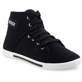 Birdy Black Lace-up Canvas PVC Smart Casual Shoe For Men