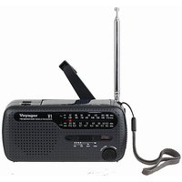 Kaito V1B Voyager Solar/Dynamo AM/FM/SW Emergency Radio with Cell Phone Charger and 3-LED Flashlight, Iron Gray