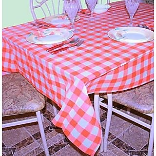 Dazzling Toys 6 Pcs Party Vinyl Tablecloth Red White Checkered Gingham  Print   Size 108 Inch