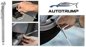 AUTOTRUMP  Accurate Chrome Coated Pen Type Tire Pressure Gauge For  With Free AUTOTRUMP Logo Keychain