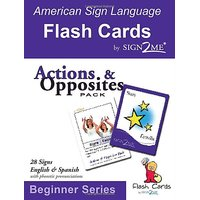 ASL Flash Cards - Learn Signs for Action & Opposites - English, Spanish and American Sign Language (English and Spanish Edition)