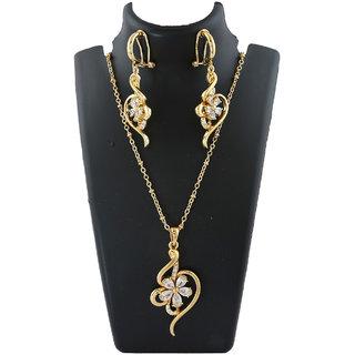 Anuradha Art Golden Finish Flower Styled Wonderful Studded Shimmering Stone Chain Pendant Set For Women/Girls