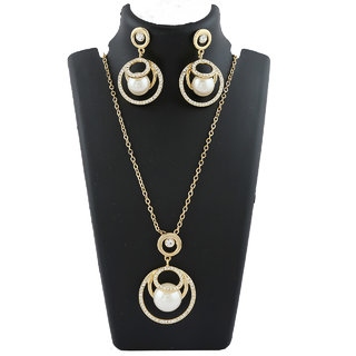 Anuradha Art Golden Finish Styled With Studded Stone & Pearl Beads Chain Pendant Set For Women/Girls
