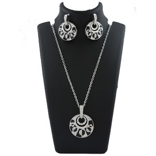 Anuradha Art Silver Tone Styled With Studded Shimmering Stone Chain Pendant Set For Women/Girls