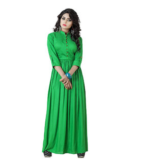 Green plain  cotton-kurtis