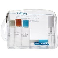 Travelon 1 Quart Zip Top Bag With Bottles, Clear, One S