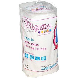 Maxim Hygiene Products Organic Cotton Rounds Extra Large 50 Count